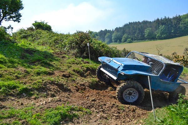 4X4 trials car climbing a hill